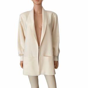 Vintage Sherwood cream light wool open jacket
